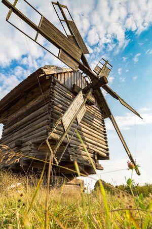 Traditional ukrainian windmill in Pirogovo in a beautiful summer day, Kiev, Ukraine Stock Photo