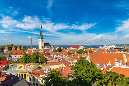 Aerial View of Tallinn Old Town  in a beautiful summer day, Estonia Stock Photo
