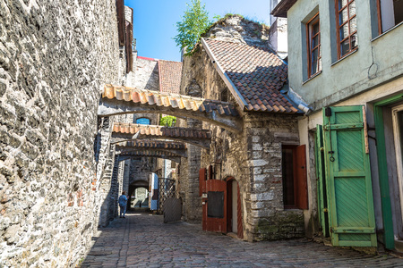 St Catherines passage - historical cobbled street in old town of Tallinn, Estonia