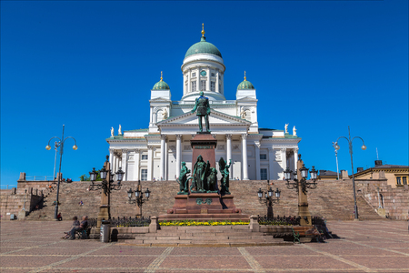 tsar: Helsinki Cathedral and the statue of tsar Alexander II in a beautiful summer day