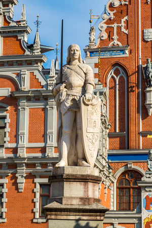 Statue of Saint Roland in the old town of Riga in a beautiful summer day, Latvia Stock Photo