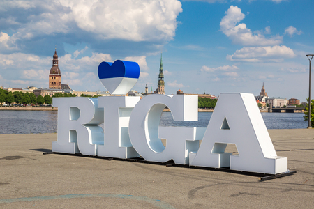 City name sign in Riga in a beautiful summer day, Latvia Stock Photo