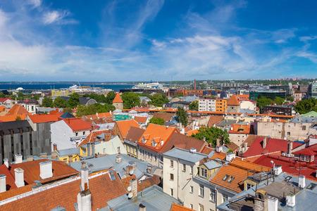 tallin: Aerial View of Tallinn Old Town  in a beautiful summer day, Estonia Stock Photo