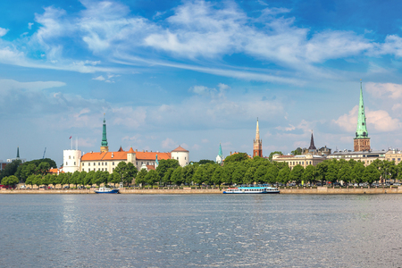 latvia: Panoramic view of old town in Riga in a beautiful summer day, Latvia