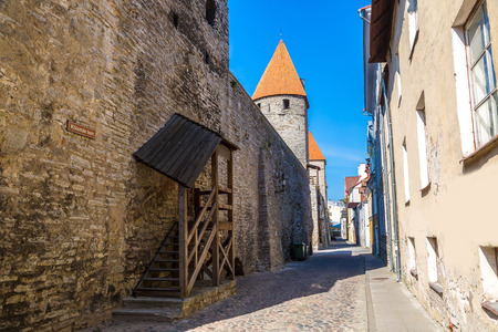 View of towers in old town of Tallinn in a beautiful summer day, Estonia