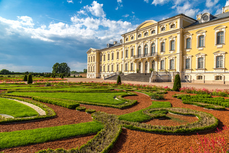 rundale: Garden in Rundale Palace in a beautiful summer day, Latvia
