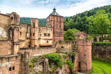 Panoramic aerial view of Heidelberg and ruins of Heidelberg Castle (Heidelberger Schloss) in a beautiful summer day, Germany