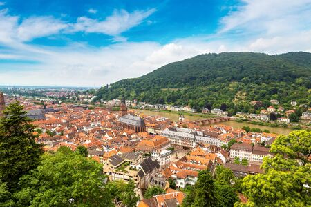 Panoramic aerial view of Heidelberg in a beautiful summer day, Germany Editorial