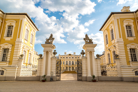 rundale: Main entrance of Rundale Palace in a beautiful summer day, Latvia