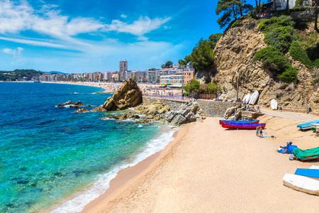 beaches of spain: Beaches in Lloret de Mar in a beautiful summer day, Costa Brava, Catalonia, Spain