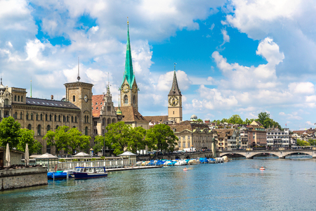 Clock tower of the Fraumunster Cathedral in historical part of Zurich in a beautiful summer day, Switzerland