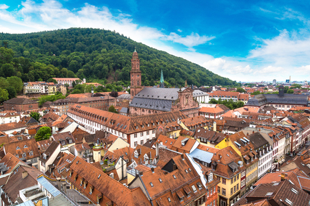 Church of holy spirit in Heidelberg in a beautiful summer day, Germany