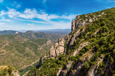 Aerial view of Montserrat mountains in a beautiful summer day, Catalonia, Spain Stock Photo
