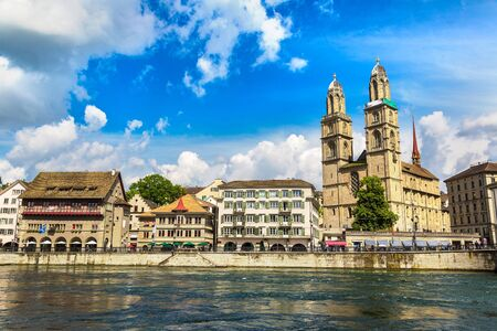grossmunster cathedral: Famous Grossmunster church in Zurich in a beautiful summer day, Switzerland