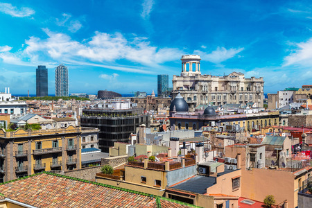 Panoramic aerial view of Barcelona in a beautiful summer day, Catalonia, Spain