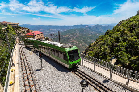 Montserrat monorail railway train in a beautiful summer day, Catalonia, Spain