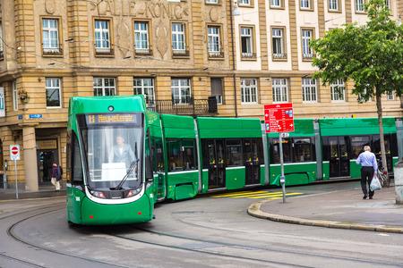 tramway: BASEL, SWITZERLAND - JUNE 23, 2016: City tram in Basel in a beautiful summer day, Switzerland on June 23, 2016
