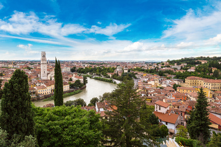 romantic places: Panoramic aerial view of Verona in a beautiful summer day, Italy