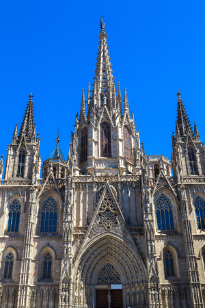Barcelona Cathedral in a beautiful summer day, Catalonia, Spain