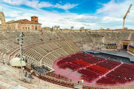 The Verona Arena - Roman amphitheatre in Verona in a beautiful summer day, Italy