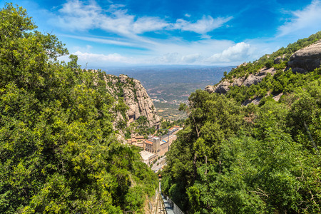 Montserrat funicular railway in a beautiful summer day, Catalonia, Spain