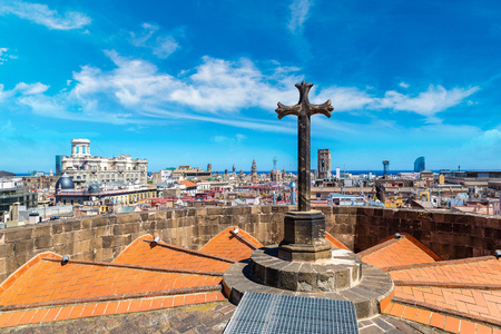 Aerial panoramic view from cathedral of Holy Cross in Barcelona in a beautiful summer day, Catalonia, Spain