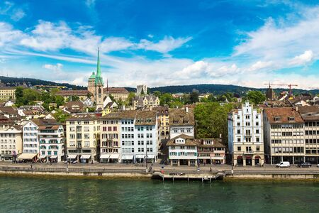 Panoramic aerial view of Zurich in a beautiful summer day, Switzerland