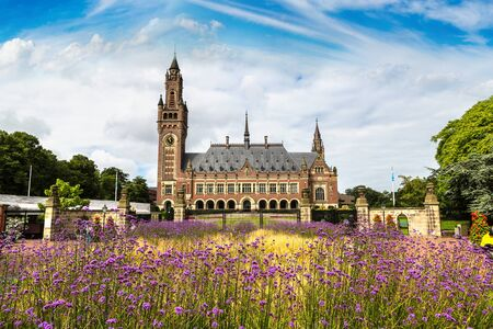 the hague: Peace Palace in Hague, Seat of the International Court of Justice in a beautiful summer day, The Netherlands