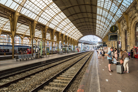 french way: NICE, FRANCE - JUNE 21, 2016: Train station in Nice in a beautiful summer day, France on June 21, 2016
