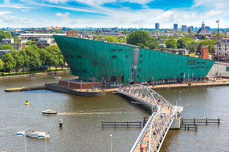nemo: AMSTERDAM, THE NETHERLANDS - JUNE 16, 2016: Science Center NEMO - science educational museum   in Amsterdam in a beautiful summer day, The Netherlands on June 16, 2016