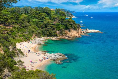 Rocks on the coast of Lloret de Mar in a beautiful summer day, Costa Brava,   Catalonia, Spain Editorial