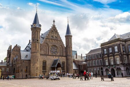 ministry: HAGUE, THE NETHERLANDS - JUNE 16, 2016: Binnenhof palace, dutch parliament in Hague in a   beautiful summer day, The Netherlands on June 16, 2016