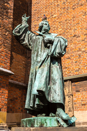 Statue of Martin Luther next to church Marktkirche in Hannover in a beautiful summer day, Germany