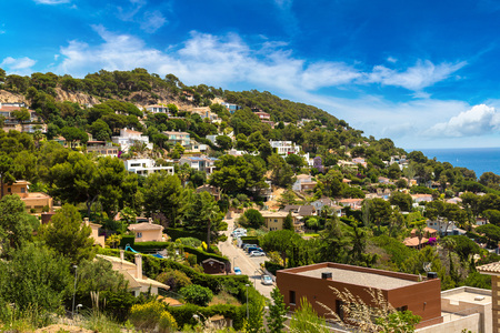 sa: Panoramic aerial view of Blanes in Costa Brava in a beautiful summer day, Spain