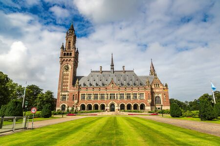 Peace Palace in Hague, Seat of the International Court of Justice in a beautiful summer day, The Netherlands