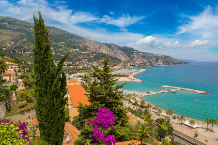 menton: Panoramic view of Menton on french Riviera in a beautiful summer day, France Stock Photo