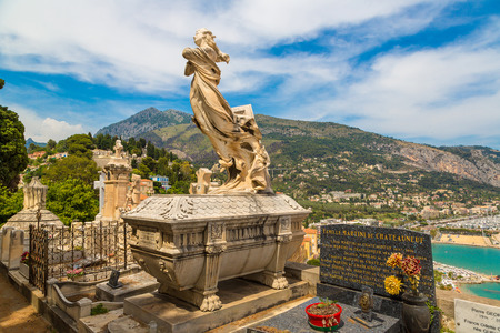 menton: Old cemetery in Menton with a panoramic view on Mediterranean sea on french Riviera in a beautiful   summer day, France Editorial