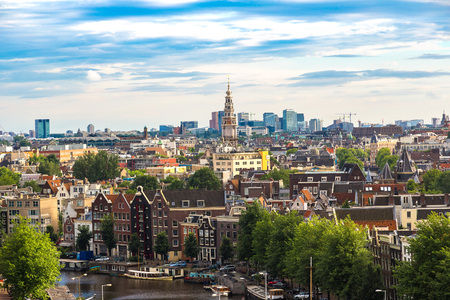 Panoramic aerial view of Amsterdam in a beautiful summer day, The Netherlands