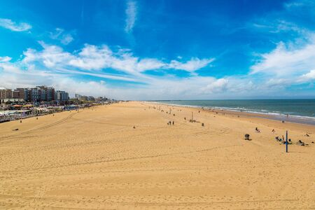 the hague: Scheveningen Beach in Hague in a beautiful summer day, The Netherlands Stock Photo