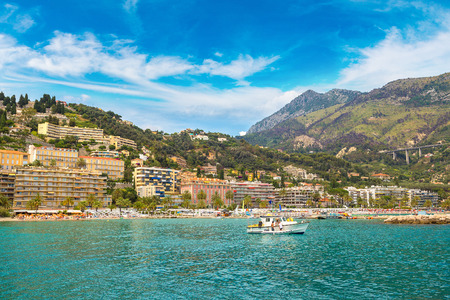 menton: Colorful old town and beach in Menton on french Riviera in a beautiful summer day, France