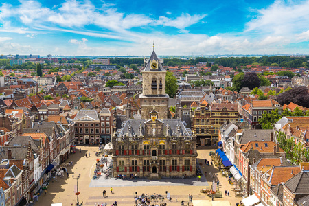 Panoramic aerial view of Delft in a beautiful summer day, The Netherlands Stock Photo