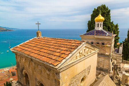 Old cemetery in Menton with a panoramic view on Mediterranean sea on french Riviera in a beautiful   summer day, France Stock Photo