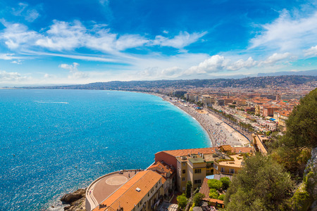 Panoramic aerial view of public beach in Nice in a beautiful summer day, France