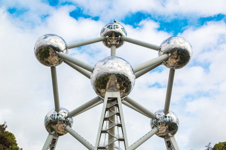 made in belgium: BRUSSELS, BELGIUM - JUNE 16, 2016: The Atomium in Brussels in a beautiful summer day, Belgium on June 16, 2016