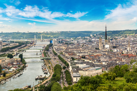 Panoramic aerial view of Rouen in a beautiful summer day, France Stock Photo