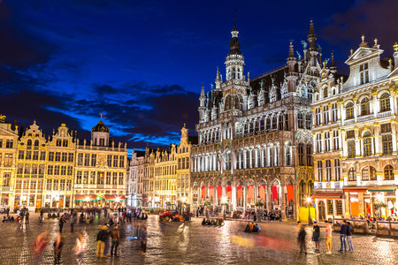 The Grand Place in Brussels in a beautiful summer nigth, Belgium