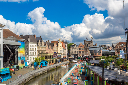 benelux: GENT, BELGIUM - JUNE 14, 2016: Canal in the old town in Gent in a beautiful summer day, Belgium on June 14, 2016
