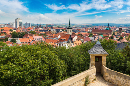 Panoramic view of fortress Petersberg and Erfurt in a beautiful summer day, Germany