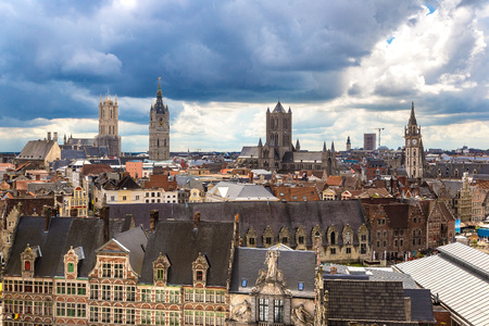 Panoramic aerial view of Gent in a beautiful summer day, Belgium