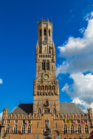 The Belfry Tower in Bruges in a beautiful summer day, Belgium
